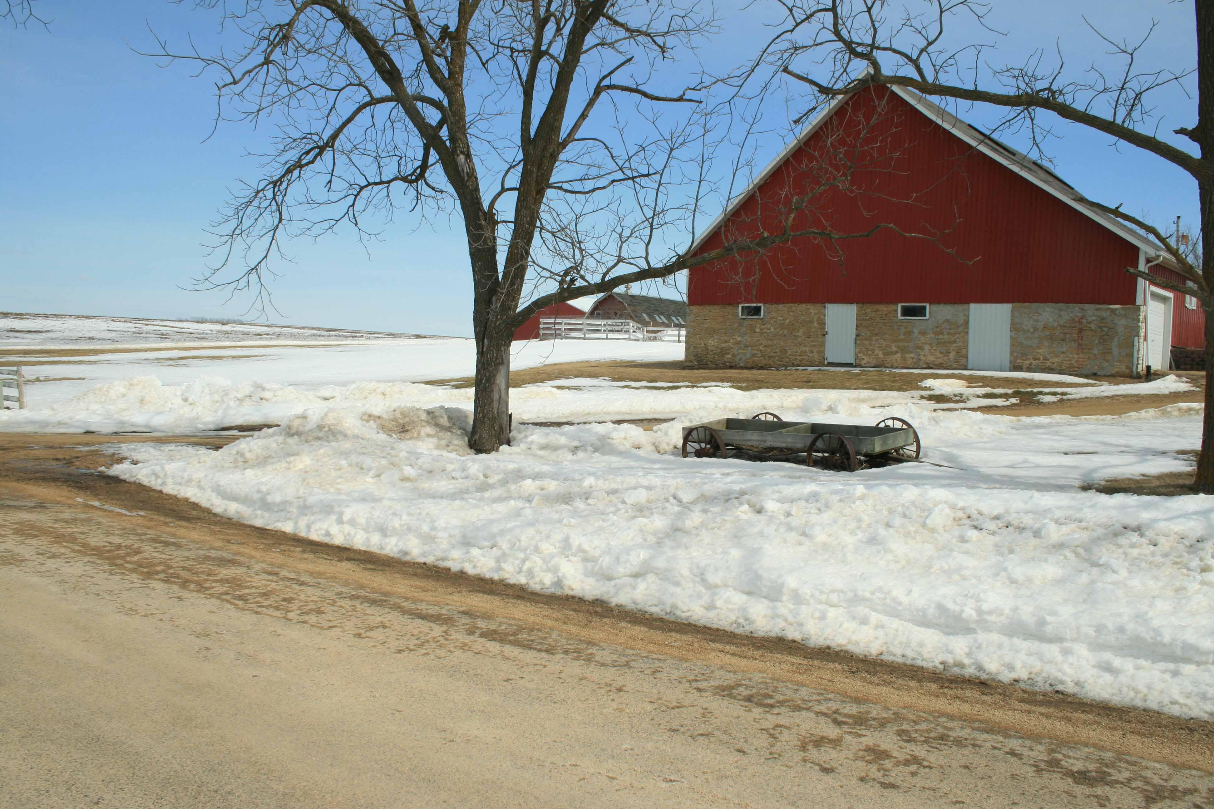 Snow around the wagon
